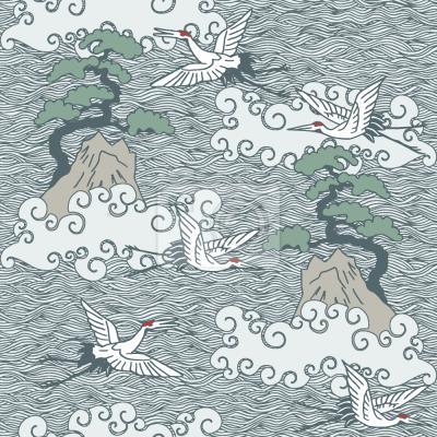 Tapeta ŻURAWIE Nad oceanem