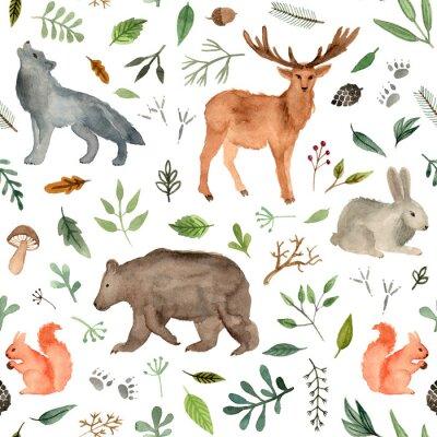 Tapeta zwierzęta leśne malowane ręcznie akwarelą. niedźwiedź brunatny, płowy, królik, wilk, wiewiórka. wzór zwierząt leśnych.
