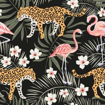 Tapeta Zwierzęta tropikalne lamparty, różowe flamingi, kwiaty plumeria, liście palmowe, czarne tło. Wektor wzór Graficzna ilustracja Kwiatowy wzór letniej plaży. Rajska przyroda